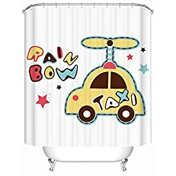 Enjelwang Vintage Bathroom Shower Curtains for Kids Waterproof Curtains with Hooks Mildew Resistant Bath Curtain 180x180cm (Taxi-Yellow)