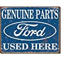 Genuine Ford Parts Used Here Distressed Retro Vintage Tin Sign - 32x41 cm