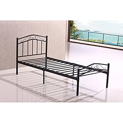 Brand New Sturdy 3ft Black Single Metal Heavy Duty Bed Frame For Adult Children