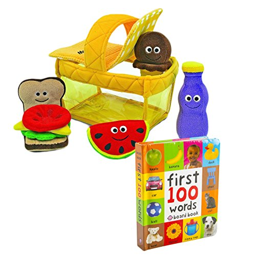 """Baby and Toddler Learn and Play Bundle - \First 100 Words\"""" Board Book with Melissa & Doug Picnic Basket Fill and Spill - Ages 6 Months And Up"""""""""""""""