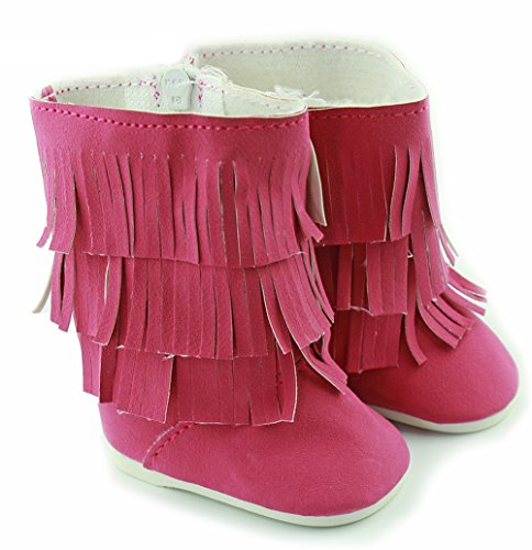 Ebuddy Rose High Tassel Shoes Boots Fits 18 Inch Girl Dolls