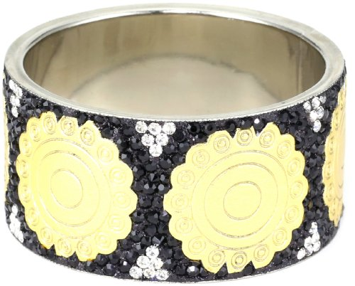 Chamak by priya kakkar Black Base Metal Bangle Bracelet