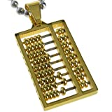 EGioie Ancient Gold Steel Chinese Abacus Calculator Pendant Necklace 0.51