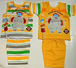 NammaBaby Fancy Cartoon Print Dress Tshirt and Shorts Set of 4 Pc (6-12 months)