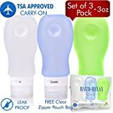 Large Travel Bottles Leak Proof 3 oz Set of 3 TSA Approved For Carry on Luggage, Squeezable & Refillable Silicone with Bag, Travel Size Toiletry Accessories Containers Tubes For All Liquid Toiletries