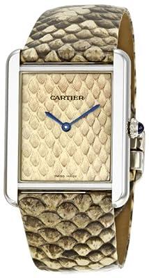 Cartier Women's W5200021 Tank Solo Python Leather strap Watch