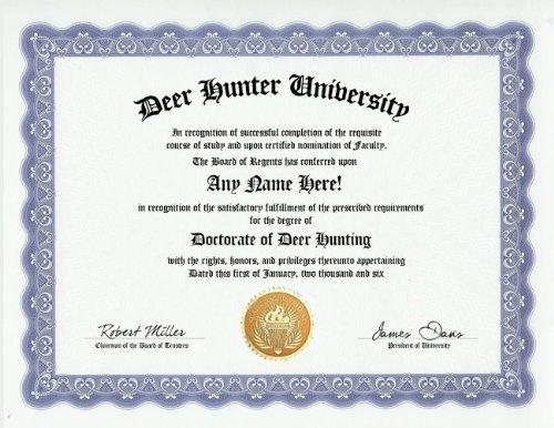 deer-hunting-hunter-degree-custom-gag-diploma-doctorate-certificate-funny-customized-joke-gift-novel