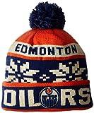 NHL Edmonton Oilers Men's Face-Off Winter Cuffed Pom Knit Beanie, One Size, Orange