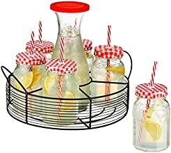Artland Gingham Beverage Jar Caddy with Carafe Clear