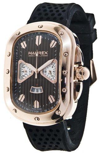 Haurex Italy Ricurvo Brown Dial Watch #3R338UMH - Reloj de caballero de cuarzo, correa de goma color marrón
