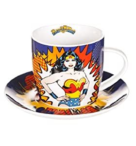 Boxed Retro Wonder Woman Cup And Saucer