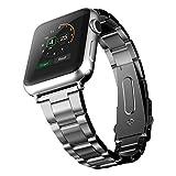 JETech Design Apple Watch ベルト 42mm ステンレス留め金製 (ブラック)