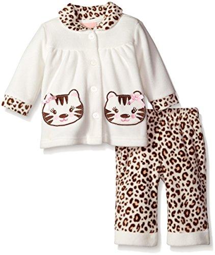 Little Lass Baby-Girls Newborn 2 Piece Polar Fleece Set Cheetah Print, Ivory, 6-9 Months