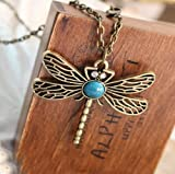 BlueTop(TM) Classic vintage Bronze dragonfly pendant necklace chain