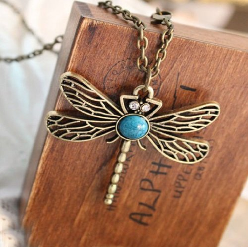 Classic vintage Bronze dragonfly pendant necklace