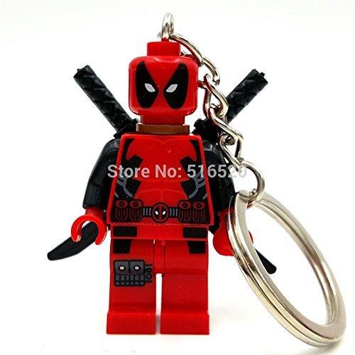 [1 Pcs Deadpool Red ABS Minifigures Keychain Building Blocks Size 4.5 cm] (Jessica Jones Marvel Costume)