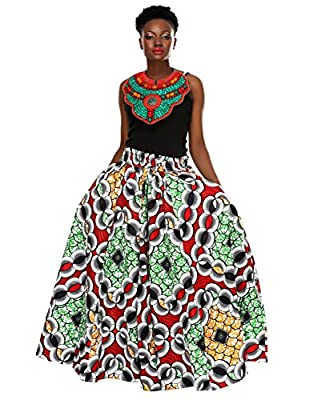 African Planet Women's Trees Wax Skirt Kitenge Inspired Elastic Waist Maxi