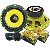 "2-Way Custom Component Speaker System - 6.5"" 400 Watt Component with Electroplated Steel Basket, Butyl Rubber Surround & 40 Oz Magnet Structure - Wire Installation Hardware Set Included - Pyle PLG6C"