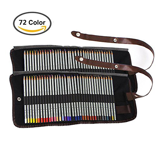 Huhuhero Marco Raffine 72-color Art Colored Pencils with Canvas Pencil Case for Artist Sketching Coloring Drawing Writing