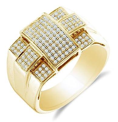 10K White Gold Diamond Cross MENS Wedding Band OR Fashion Ring - w/ Micro Pave Set Round Diamonds - (1/2 cttw)