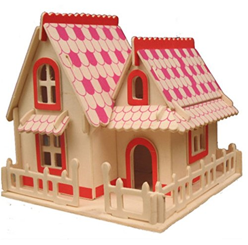 Thinkmax 3D Three-Dimensional Puzzle Wooden House Model,Children'S Educational Toys(Europea-Style House B) front-97229