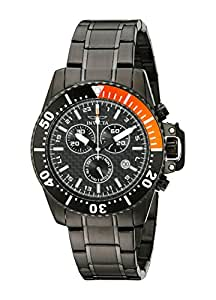 Invicta Men's 11290 Pro Diver Chronograph Black Carbon Fiber Dial Black Stainless Steel Watch