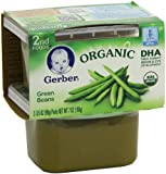Gerber Organic 2nd Foods, Green Beans, 2 Count, 3.5 Ounce (Pack of 8)