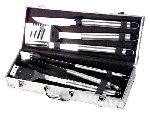 Style Asia Hw4112 Chefs Basics Select 6-Piece Stainless-Steel BBQ Set In Metal Case