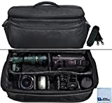 Extra Large Soft Padded Camcorder Equipment Bag / Case For Sony NEX-EA50UH, NEX-FS100U, NEX-FS700R, NEX-FS700U, NEX-FS700UK, NEX-VG10, NEX-VG20, NEX-VG20H, NEX-VG30, NEX-VG900 & More... + Microfiber Cloth