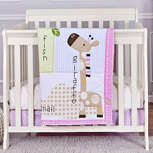 Dream On Me 3 Piece Reversible Portable Crib Bedding Set, Jungle Friends - 1