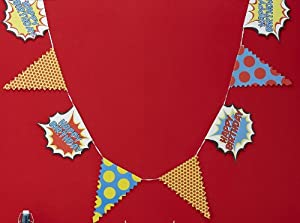 Ginger Ray Happy Birthday Bunting Banner - Pop Art Superhero Party from Ginger Ray
