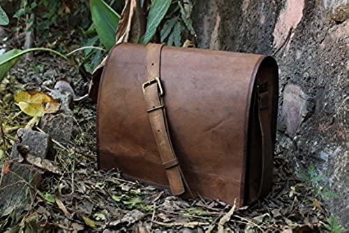 handolederco. Unisex Cross Shoulder Full Flap Laptop Leather Messenger Bag Satchel Dark Brown