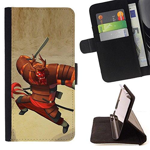 Momo Phone Case / Protettiva Custodia Flip Wallet in pelle - Cartoon der japanischen Krieger - Samsung Galaxy Note 4 IV