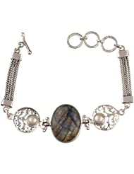 Exotic India Labradorite Bracelet With Pearl - Sterling Silver