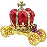 Pewter Princess Horse Carriage Keepsake (Red)