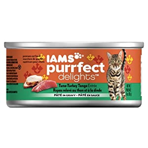 Iams Purrfect Delights Tuna-Turkey Tango Entree PATE in Sauce Cat Food, 3-Ounce
