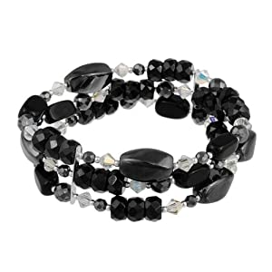 """Sterling Silver 3 Row Black and White Stone Bead Bracelet, 7.5"""""""