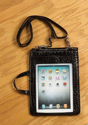 IPad Pad Pocket Messenger Bag Black Croc