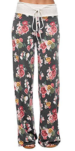 Marilyn & Main Women's Comfy Soft Stretch Floral Polka Dot Pajama Pants,Small,Charcoal Floral (Wide Leg Pajama Pants compare prices)