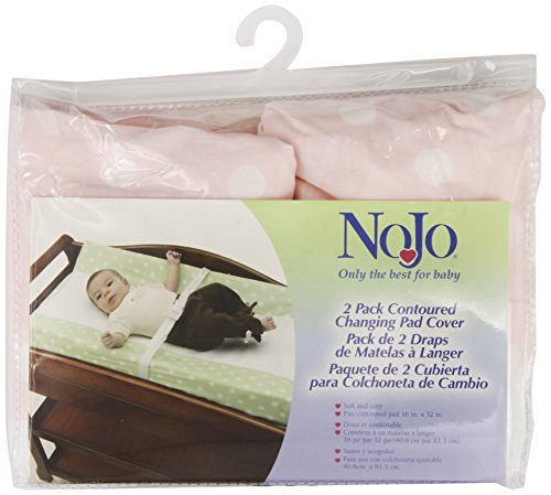 Nojo 2 Pack Dot Changing Table Cover - Pink Withivory Dots front-28316
