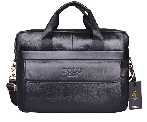 VIDENG POLO® Hotest Men's Top Genuine Leather Handmade Briefcase Shoulder Messenger Business Bag From Italy Design (CP-Onyx Black) (Greater Good Clothing compare prices)