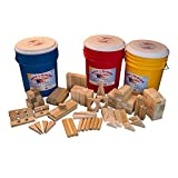 "Wooden Blocks ""Fun With Friends"" 160 Wooden Building Blocks For Kids In A Yellow Storage Bucket"