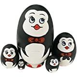 Winterworm Cute Egg Shape Animal Theme Handmade Wooden Russian Nesting Dolls Matryoshka Dolls Set 5 Pieces For...