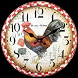 34 cm Cockerel Clock, Large Rustic Rooster Design Wall Clock, 'Le Coq Chateau' Great For Kitchen / Dining / Living Room, Ideal Present, Gift Boxed