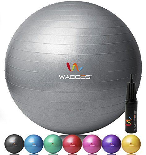 Wacces® Fitness Exercise and Stability Ball (Gray, 75 cm)