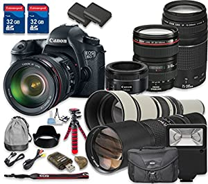 Canon EOS 6D 20.2 MP CMOS Digital SLR Camera with Canon EF 24-105mm f/4L IS USM Lens + Canon EF 75-300mm f/4-5.6 III Lens + Canon EF 50mm f/1.8 STM Lens + 500mm f/8 + 650-1300mm - International Model
