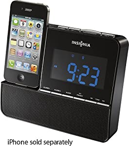 Insignia NS-CLIP01 FM Digital Alarm Clock Radio iPod iPhone Dock