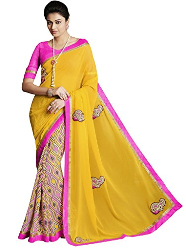Melluha Yellow Georgette print Embroidered Half And Half Designer Sarees
