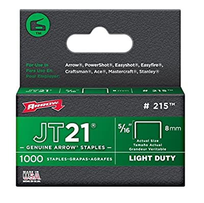 Arrow 215 Genuine JT21/T27 5/16-Inch Staples, 1,000/Pack