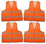 4 Stück Warnweste, Sicherheitsweste, Pannenweste EN 471 orange mit Reflektorstreifen und Klettverschluss Universalgröße